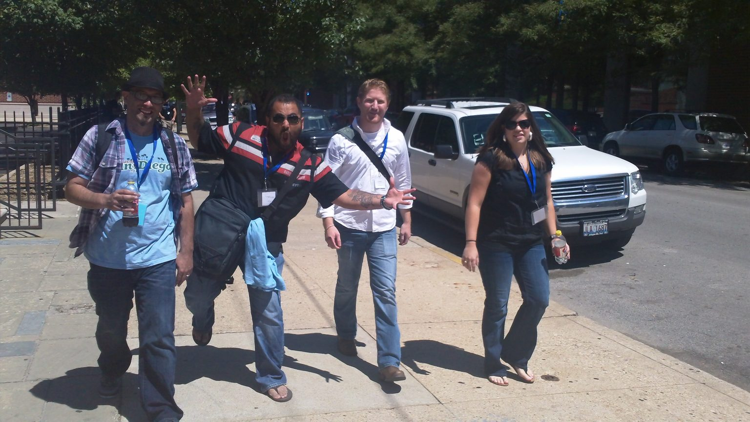 Dre, Tony, Jared and Sam heading back from lunch