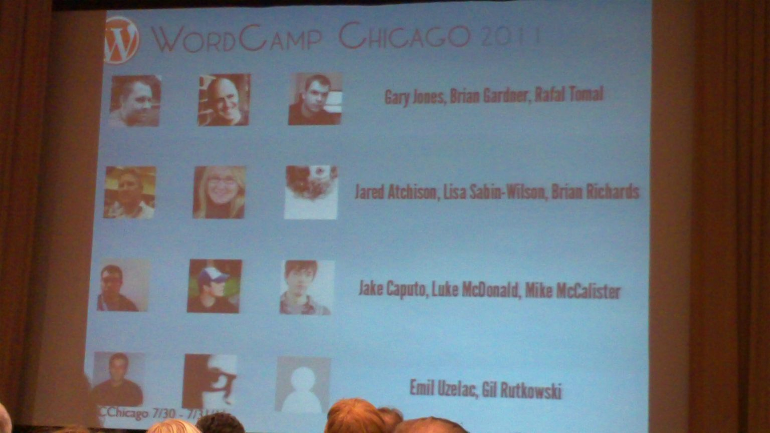 Photo of a presentation slide, showing Gary's picture and name among others