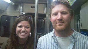 Sam and Jared on a train