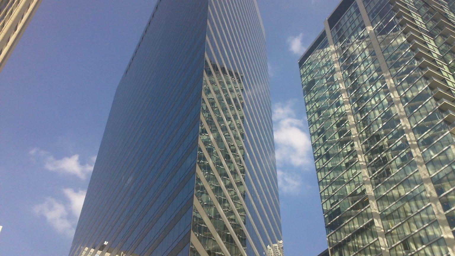 A sharply-cornered skyscraper