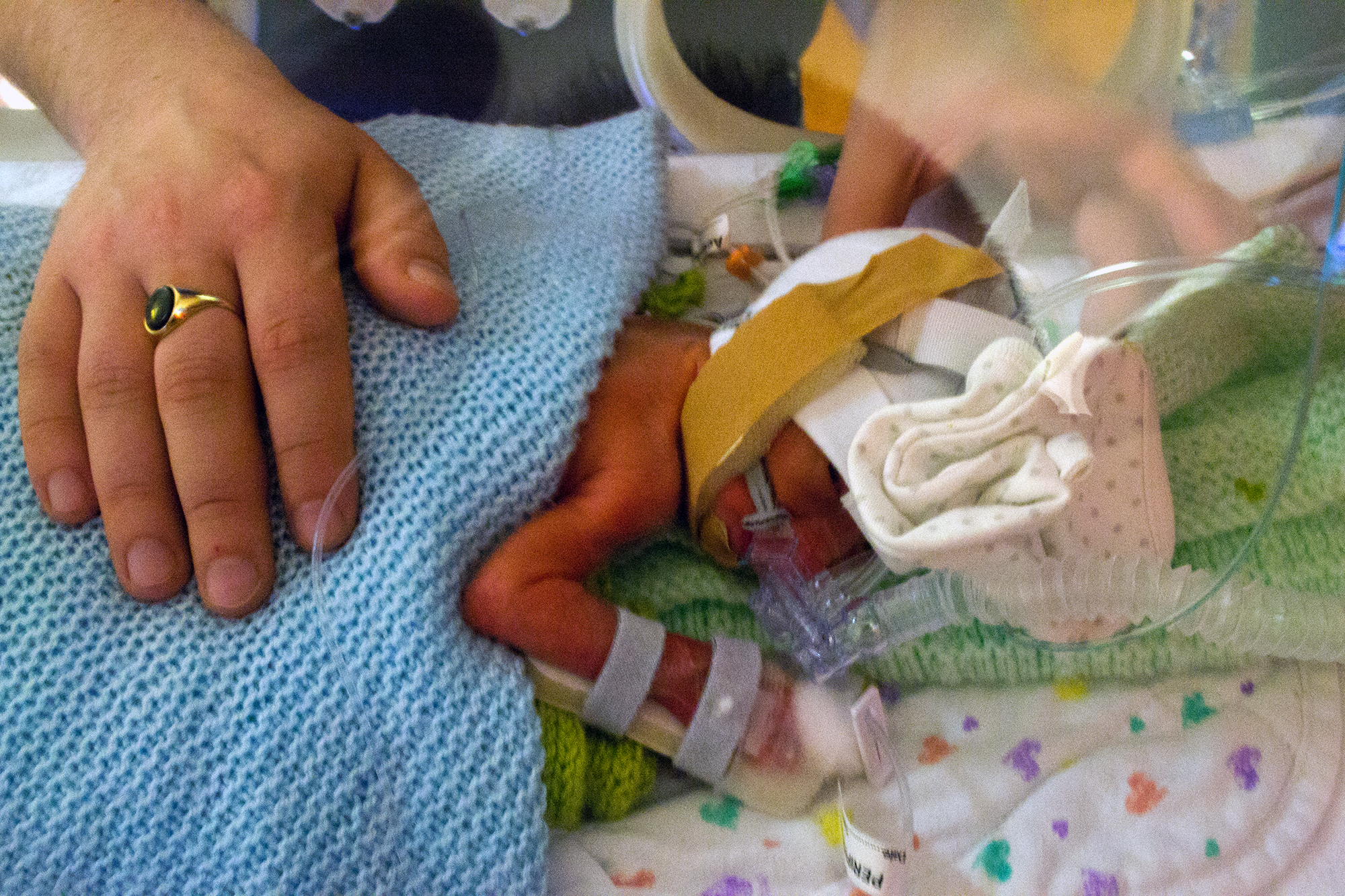 Tiny baby in an incubator with breathing apparatus on. Covered with a blanket, and daddy's hand on his back.